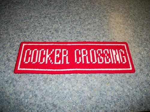 Brand New COCKER CROSSING Needlepoint Sign For Cocker Spaniel Rescue Charity