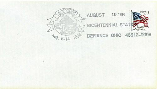 Three DEFIANCE OHIO Bicentennial 1994 First Day Covers For Dog Rescue Charity