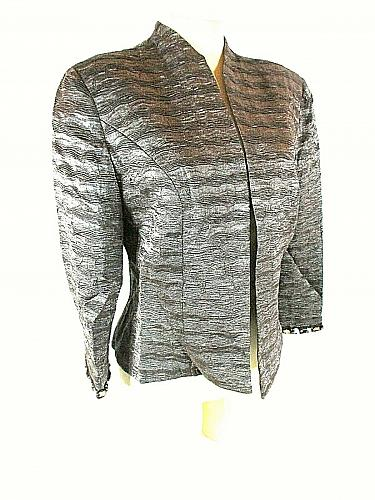 KM Collections Milla Bell Women's 10 Gray Textured Beads Lined Open Jacket (O)