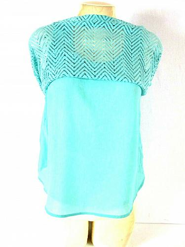 Candie's Women's Medium Green Mesh Outer Layered Look Solid Liner Tank Top (O)