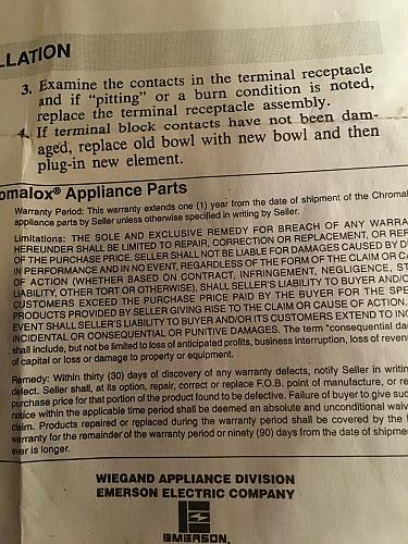 "Vintage New Chromalox surface element,Burner MS412 PCN 405340 8"""
