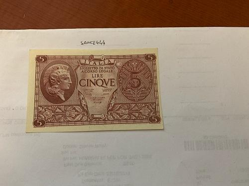 Italy 5 lire uncirculated banknote 1944 #16