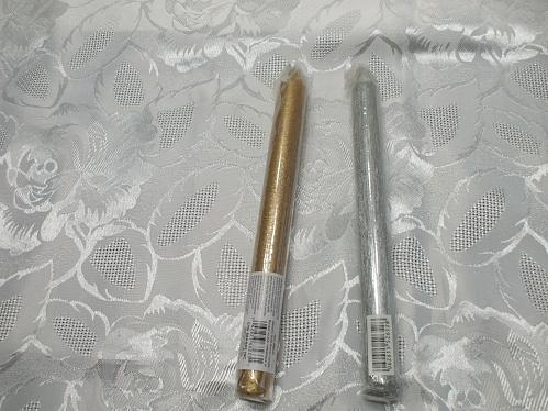 Gold/Silver Parrafin Taper Candle for ritual, spell, altar work, sun/moon/god/go