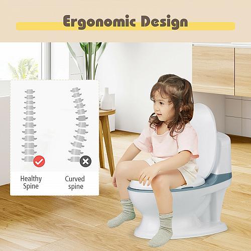 Kids Realistic Flushing Sound Lighting Potty Training Transition Toilet