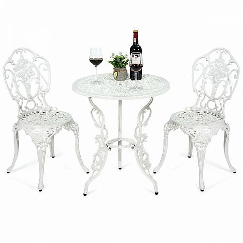 3 PCS Patio Table Chairs Furniture Bistro Set