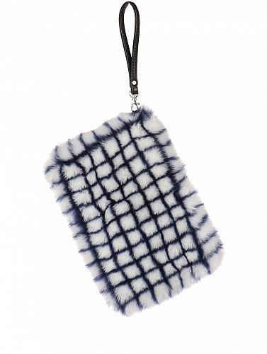 BLUE/WHITE FAUX FUR CLUTCH BAG ACCESSORY