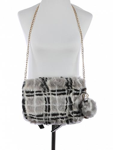 GRAY/BLACK FAUX FUR CLUTCH BAG ACCESSORY
