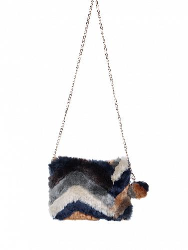 BLACK/TAN FAUX FUR CLUTCH BAG ACCESSORY