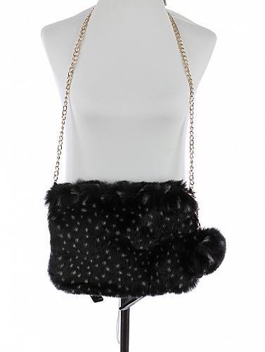 BLACK/WHITE FAUX FUR CLUTCH BAG ACCESSORY