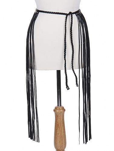 BRAIDED FAUX LEATHER LONG FRINGE BELT