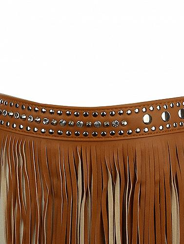 FAUX LEATHER LONG FRINGE SKIRT BELT