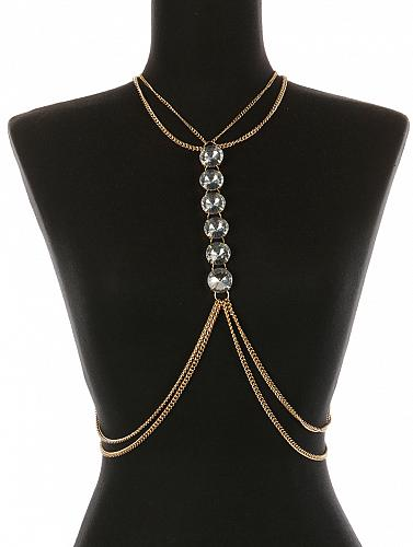 CHUNKY GLASS STONE NECKLACE AND BODY CHAIN