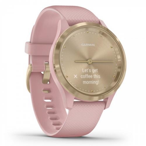 Garmin Vivomove 3S Hybrid Smartwatch (Light Gold Stainless Steel Bezel With Dust Rose