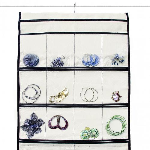 Stylishly Stored 52 Pocket Hanging Canvas Jewelry Organizer
