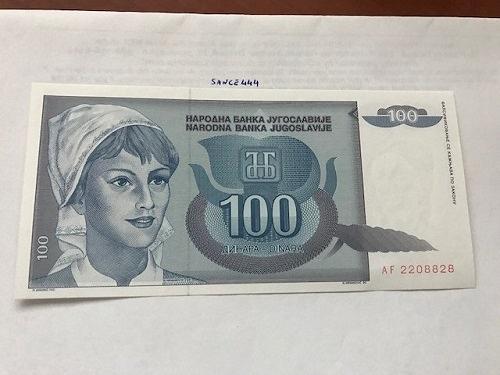 Yugoslavia 100 dinara uncirc. banknote 1992 #2