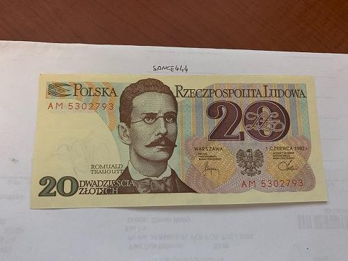 Poland 20 zlotych uncirc. banknote 1982 #2