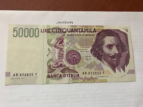 Italy Bernini 50000 lire uncirc. banknote 1992
