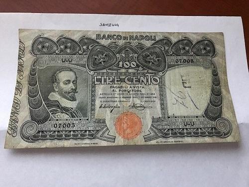 Italy Banco di Napoli 100 lira banknote 1918