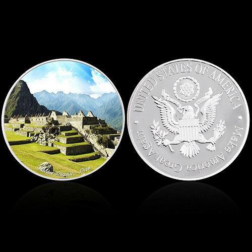 United States Wonders of World Machu Picchu golden coin