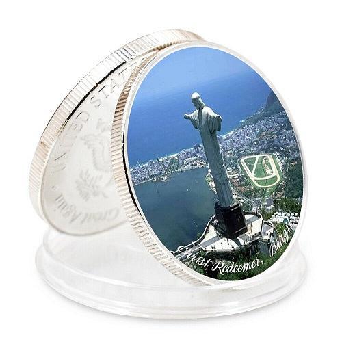 United States Wonders of World Christ Brazil golden coin