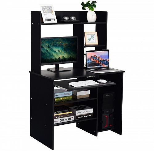 Hutch Storage Shelves Keyboard Tray Organizer Computer Desk