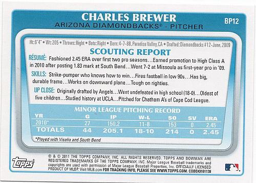 Charles Brewer #BP12 - Diamond Backs 2011 Bowman Baseball Trading Card