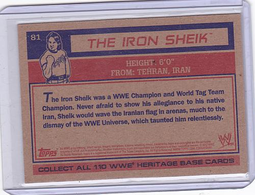 The Iron Sheik #81 - WWE 2012 Topps Heritage Wrestling Trading Card