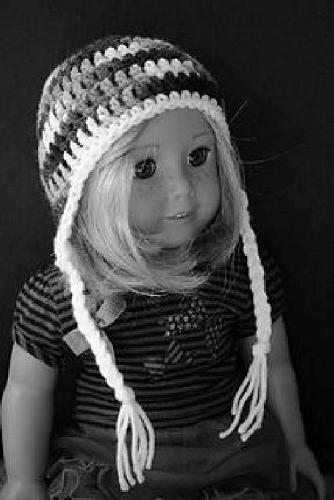 Brand New Crocheted Pink White Ear Flap Hat 18 Inch Dolls For Dog Rescue Charity