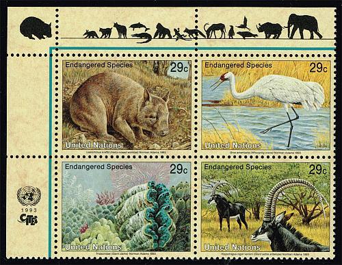 UN New York #623a Endangered Species Block of 4; MNH (5Stars) |UNN0623a-01XVA