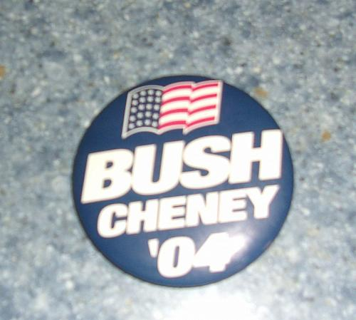Bush Cheney 2004 Campaign Badge Political Collectible For Dog Rescue Charity