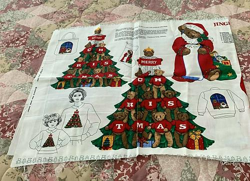 Brand New Jingle Bell Bear Christmas Appliques Fabric Panel 4 Dog Rescue Charity