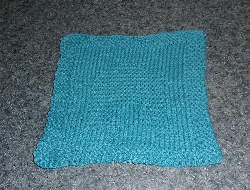 Brand New Hand Knit Blue Dog House Design Cotton Dish Cloth 4 Dog Rescue Charity