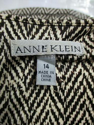 Anne Klein Women's Sz 14 Brown Beige SILK Herringbone Cowl Neck Stretch Top (E)