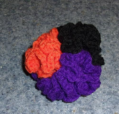 New Handmade Orange Black Purple Crochet Brain Ball Dog Toy 4 Dog Rescue Charity