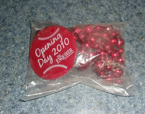 Brand New CINCINNATI REDS 2010 Opening Day Beads For Rescue Dog Charity