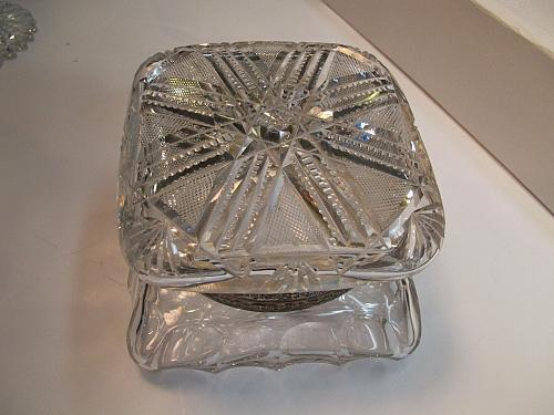 ABP Crystal Cut Glass covered square dresser box