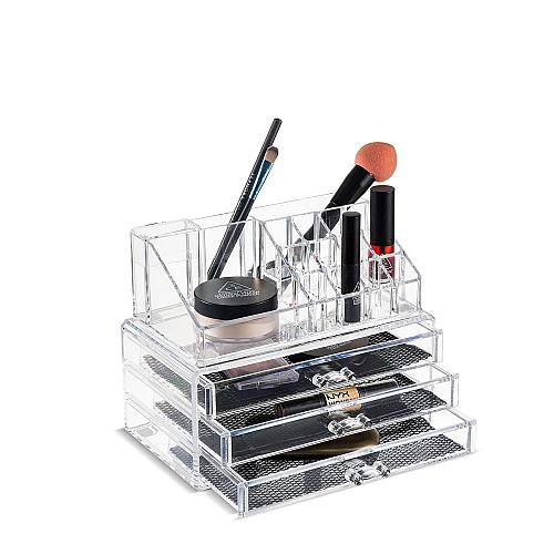 Felicite Home Acrylic Jewelry and Cosmetic Storage Boxes Makeup Organizer Set, 4