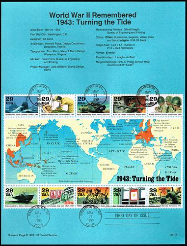 US #SP1044 (2765) World War II (5Stars) |USASP1044-01