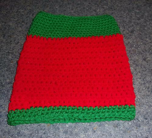 Brand New Hand Crocheted Red Green Dog Snood Neck Warmer For Dog Rescue Charity