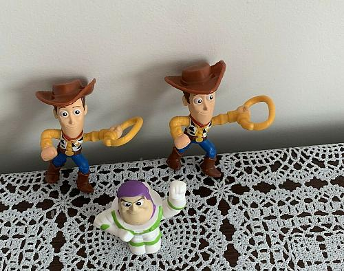 Three 2019 McDonalds Happy Meal Toys Woody Buzz Lightyear For Dog Rescue Charity