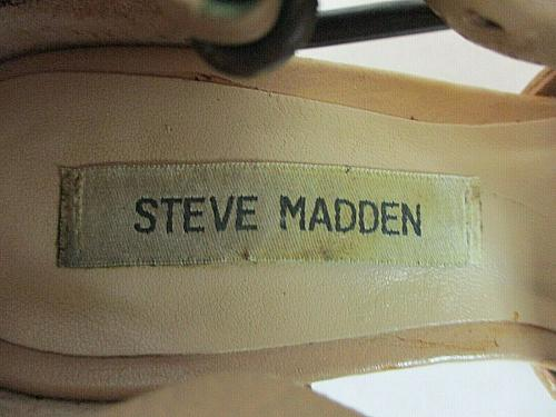 Steve Madden Beige Fanniee Leather Block Heels Sandals Shoes Women's 7 M (SW7)
