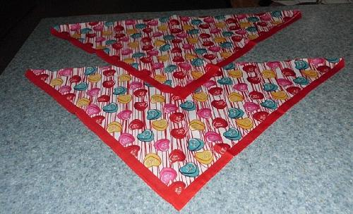 Two Brand New Conversation Hearts Design Dog Bandanas For Dog Rescue Charity