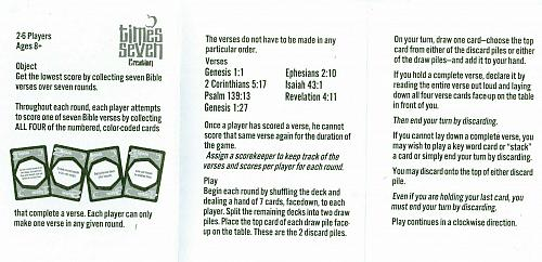Brand New Standard Publishing Times Seven Creation Bible Verse Card Game Charity