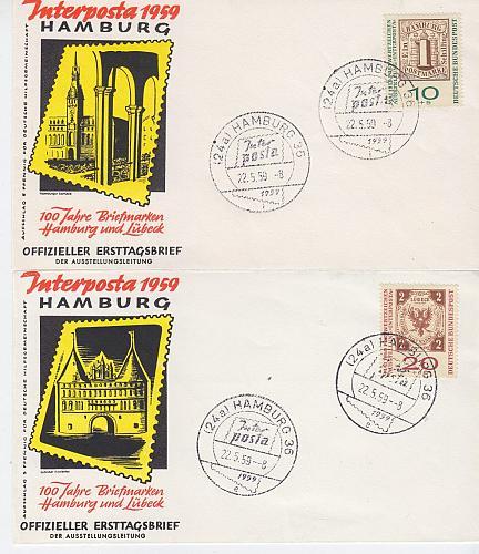GERMANY BUND [1959] MiNr 0210-11 a ( FDC ) [01]