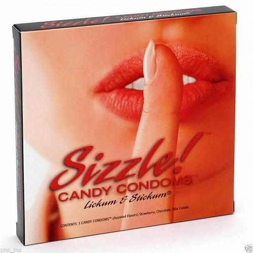 Sizzle! Candy Condoms - 3 Pack - Strawberry, Chocolate, and Pina Colada