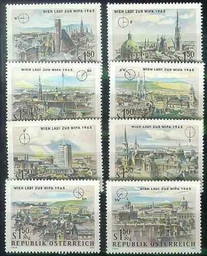 ÖSTERREICH AUSTRIA [1964] MiNr 1164-71 ( **/mnh ) Architektur