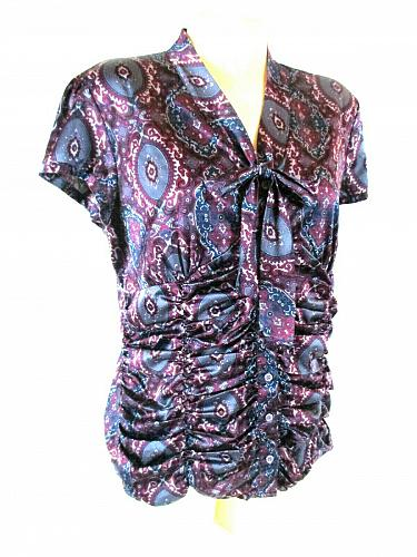 Style & Co Women's 12P Purple Paisley Button Down Tie Neck Stretch Ruched Top (E