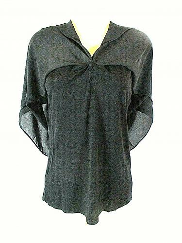 Bar lll Women's XL Black Split Front & Back with Full Liner Stretch Top (E)