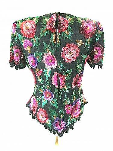 Laurence Kazar Women's Small Multi Color Floral Sequins Beads Full Zip Top (O)