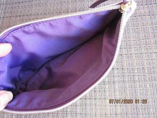 VICTORIA'S SECRET Purple Striped Cloth Cosmetic Makeup Bag Case Gold Nameplate